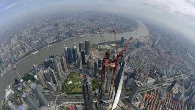 An aerial view of Shanghai Tower after a final beam was installed. Picture; AP