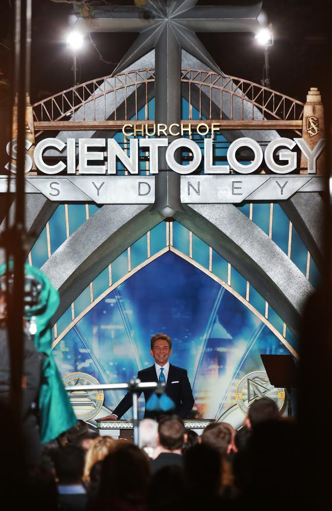 Scientology supreme leader David Miscavige speaks at the church's Sydney headquarters. Picture: NewsCorp