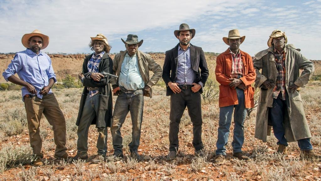 Cast of the short film Never Stop Riding: Patuway Mungkuri, Johnny Doolan, Peter Mungkuri, Vincent Namatjira, Michael Drover and Kunmanara Andy at Indulana. Picture: Jackson Lee/Iwantja Arts