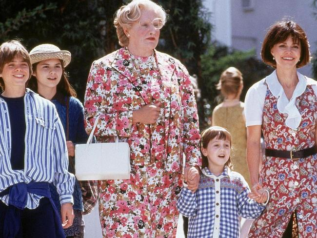 Robin Williams and Sally Field in a scene from Mrs. Doubtfire.