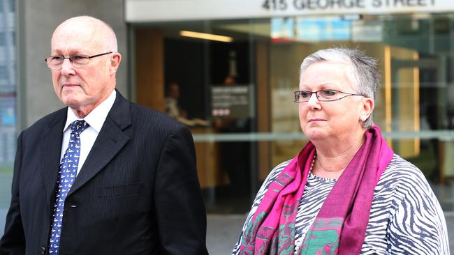 Nigel Baden-Clay and Elaine Baden-Clay arrive at court during the first week of the trial. Photo Adam Armstrong.