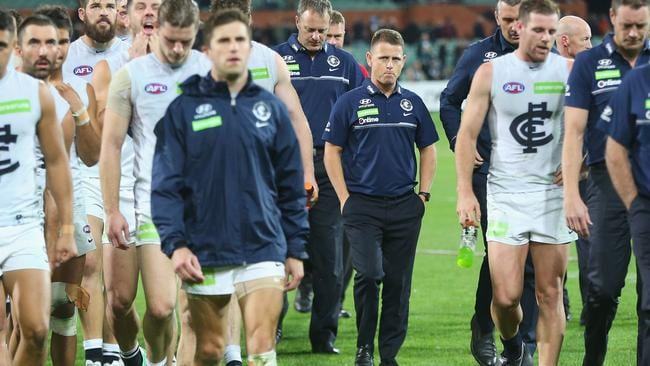 Brendon Bolton knows the Blues face a long road. Picture: Getty Images