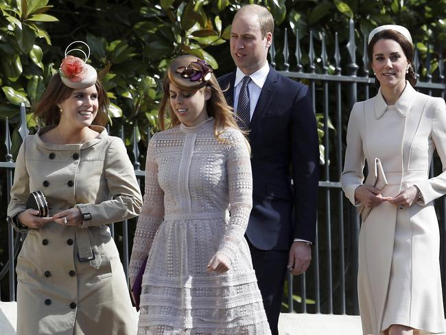From left, Britain's Princesses Eugenie, Princess Beatrice, Prince William and Kate, the Duchess of Cambridge. Picture: Peter Nicholls/AP