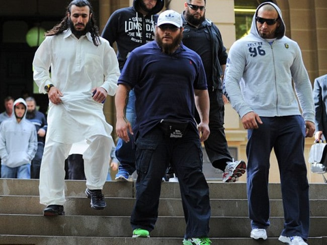 Mohamed Elomar (left in white) and Khaled Sharrouf (green shoes) in 2012, a year before they went to fight and then die in Syria for ISIS.