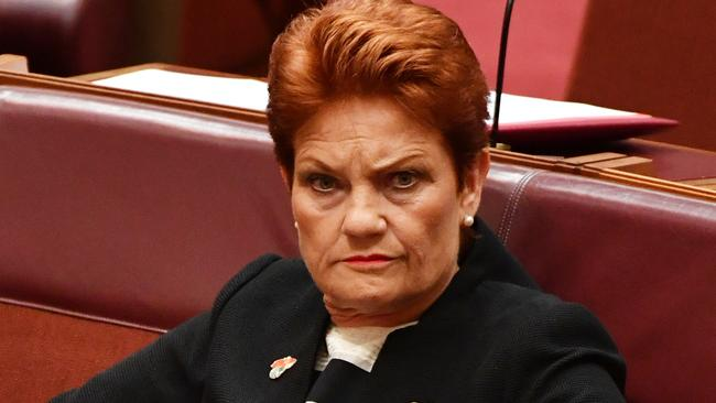 One Nation leader Senator Pauline Hanson during an amendment to part 18c of the Racial Discrimination Act in the Senate chamber at Parliament House in Canberra, Thursday, March 23, 2017. (AAP Image/Mick Tsikas) NO ARCHIVING