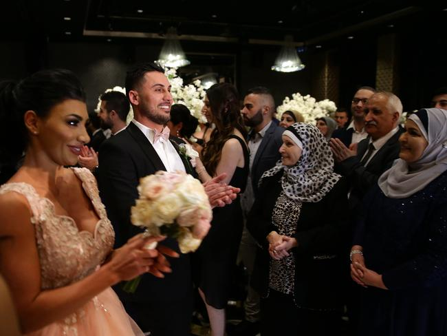 Salim Mehajer making his entrance to sister Kat and her new husband Ibraham's wedding reception held at Doltone House, Hyde Park. Picture: Jonathan Ng