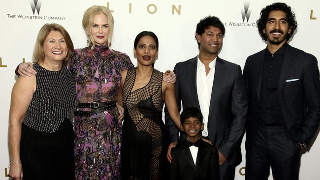 Sue Brierley, from left, Nicole Kidman, Priyanka Bose, Sunny Pawar, front, Saroo Brierley and Dev Patel attend the premiere of  <i>Lion</i> at the Museum of Modern Art last month in New York. Picture ANDY KROPA, AP