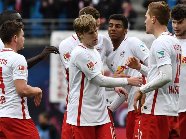 Leipzig players celebrate.