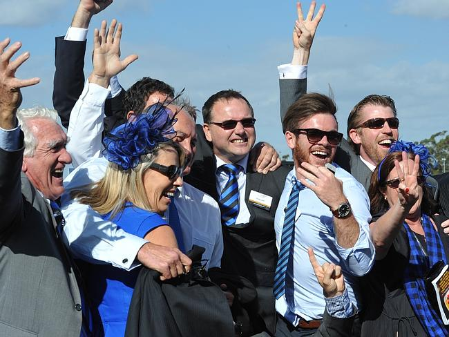 Connections of Buffering celebrate his third Group 1 success in the Winterbottom Stakes. Picture Graeme Collopy