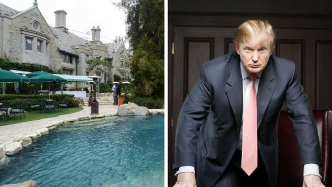 """Mr Trump allegedly met Playmate Karen McDougal by the swimming pool at the Playboy Mansion in Los Angeles during taping of """"The Apprentice"""". Picture:AFP. Donald Trump in a scene from the TV reality show """"The Apprentice"""" in 2004. Picture: Supplied"""