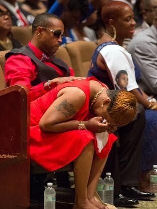 Lesley McSpadden, the mother Michael Brown, cries during her son's funeral. Picture: Richard Perry