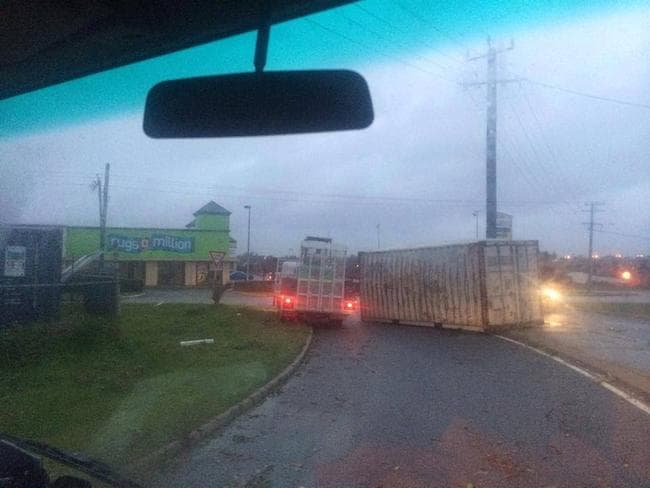 A sea container lies across a road in O'Connor. Picture: Katrina Craig Simonson/Perth Weather Live