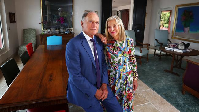 Brian White and his wife Rosemary at their Point Piper property in eastern Sydney. The fourth White generation, Brian's sons Sam, Dan and Ben have also joined the company, which today employs more than 13,000 people. Picture: John Feder