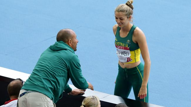 GLASGOW COMMONWEALTH GAMES 2014- DAY 7- Athletics Australia head coach Eric Hollingsworth was still seen at the Hampden Park track and coaching athletes like Sophie Stanwell in the Heptathlon (pictured) despite being suspended over the Sally Pearson comments. Pics Adam Head