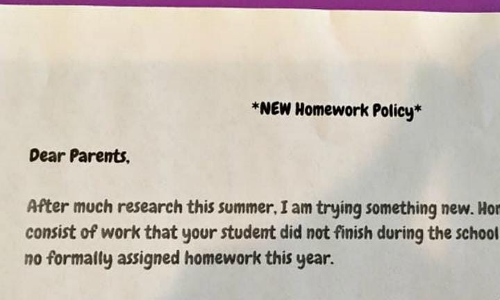 Should more teachers have a homework policy like this one?