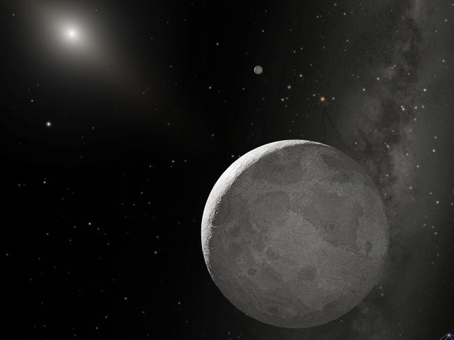 Distant relatives ... This is an artist's concept of Kuiper Belt object 2003 UB313 (nicknamed Xena) and its satellite Gabrielle. The unusual orbits of the solar system's most distant celestial bodies points directly towards the existence of a ninth planet.