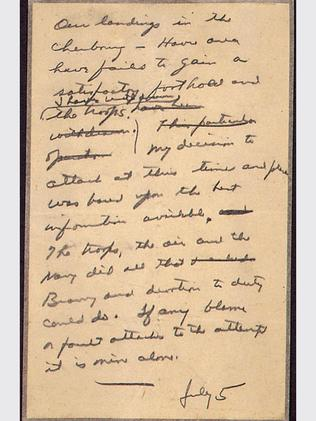 General Eisenhower's 'in case of defeat' letter accepting responsibility should D-Day fail. Thanks to Hitler, it was never posted.