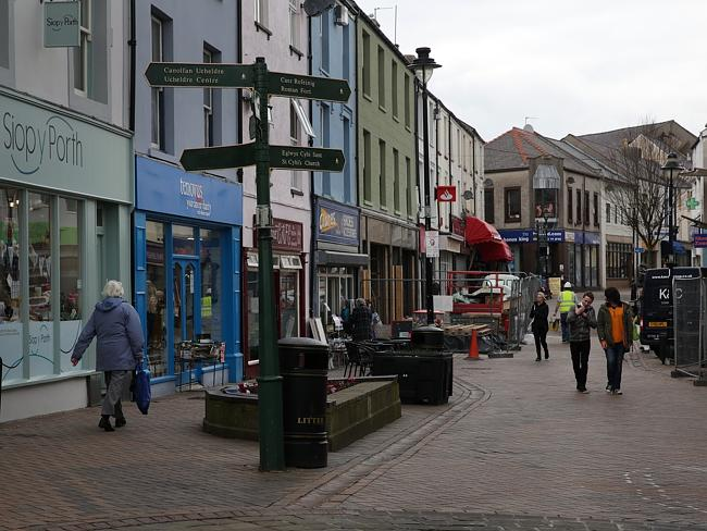 Very quiet ... the centre of the town of Holyhead. Picture: Ella Pellegrini