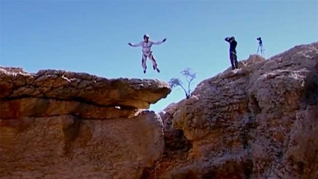 Freefalling: in 2007 Baumgartner jumped into the second biggest cave in the world in Oman. Picture: YouTube