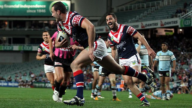 Boyd Cordner scores for the Roosters. Picture: Sam Ruttyn