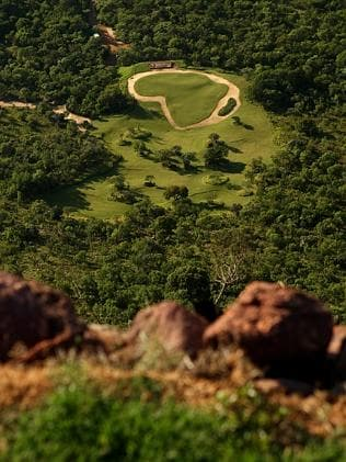 You go first ... A view of the 19th hole from the tee. It's a par 3 which is 631m long. The tee is at the top of...