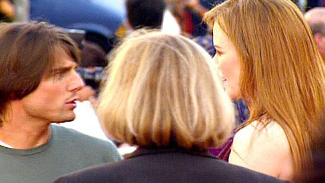 Tom Cruise and Nicole Kidman get into a heated argument at the premiere of Eyes Wide Shut in 1999. Kidman reportedly refused to be photographed with Cruise, which allegedly set Cruise off. Picture: Splash News