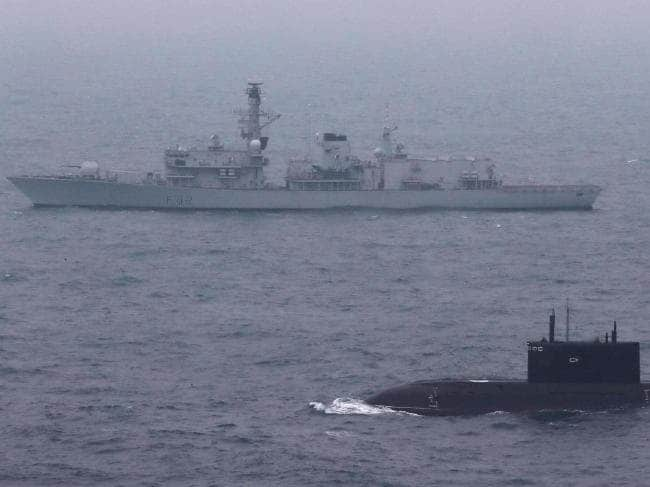 The anti-submarine frigate HMS Somerset keeps company with the modified Kilo-class submarine Krasnodar as it made its way to Syria. NATO was keen to observe the submarine's fighting potential, and may have been given a more surprising demonstration than it expected. Picture: Royal Navy