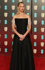 US actress Jennifer Lawrence poses on the red carpet upon arrival at the BAFTA British Academy Film Awards at the Royal Albert Hall in London on February 18, 2018. Picture: AFP PHOTO / Daniel LEAL-OLIVAS