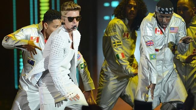 Justin Bieber performs for a capacity audience at the Rod Laver Arena in Melbourne. Picture: Tony Gough