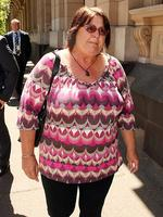 Prue Bird's mother Jenny Bird leaves the Supreme Court after notorious killer Leslie Camilleri pleaded guilty Prue's murder more than 20 years earlier. Picture: Norm Oorloff