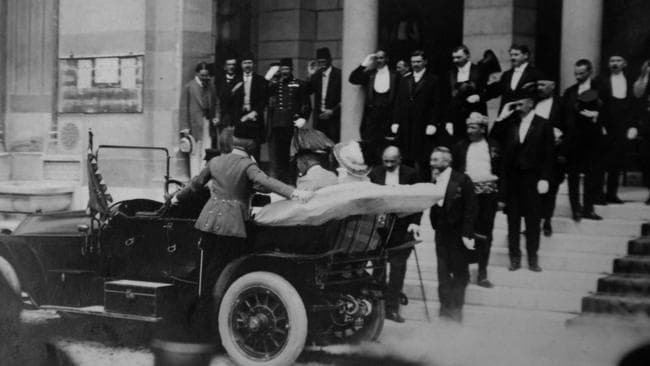 Archduke Franz Ferdinand of Austria and his wife Sophie arrive in their car on a visit to Sarajevo.