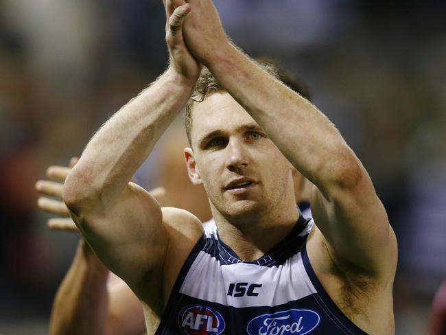 Geelong captain Joel Selwood after the win. Pic: Michael Klein.