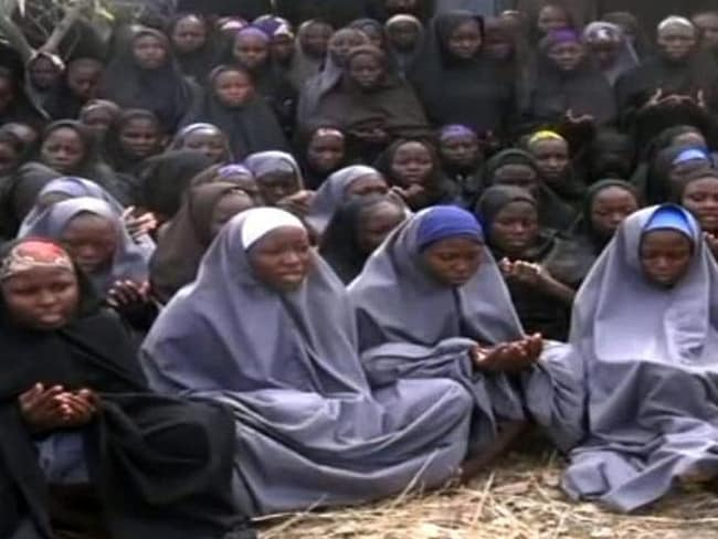 The missing Nigerian schoolgirls pictured shortly after their capture. Picture: Supplied.