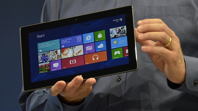 Microsoft's Executive Officer Steve Ballmer introduces Microsoft's new tablet SURFACE. Picture: AFP