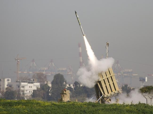 A missile is launched from Iron Dome to intercept a rocket fired by militants from Gaza.