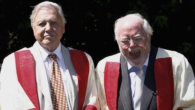 Sir David Attenborough and Lord Richard Attenborough receiving Honorary Fellowships from the University of Leicester in 2006.