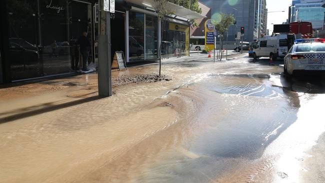 Burst water main in the Adelaide CBD. Picture: Emma Brasier