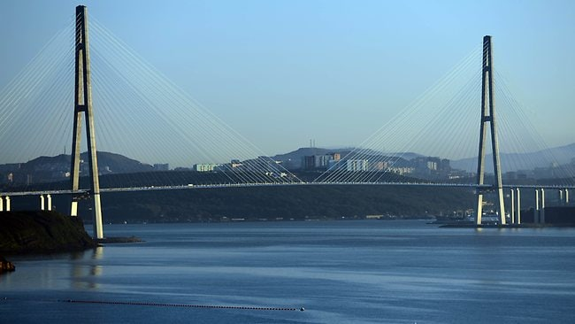 The 1872-metre-long bridge that connects Russky Island off Vladivostok and the Russian mainland. President Vladimir Putin impressed leaders by holding the Asian summit on an island off a revamped Pacific city but the surface shimmer hid underlying problems in the Russian Far East. AFP / Saeed Khan