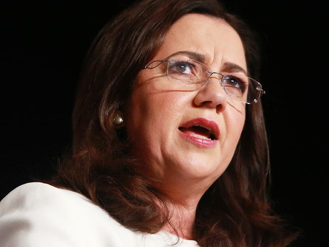 Queensland Premier Annastacia Palaszczuk speaks at the Queensland Media Club luncheon on Friday, November 24, 2017. Queensland goes to the polls tomorrow. (AAP Image/Claudia Baxter)