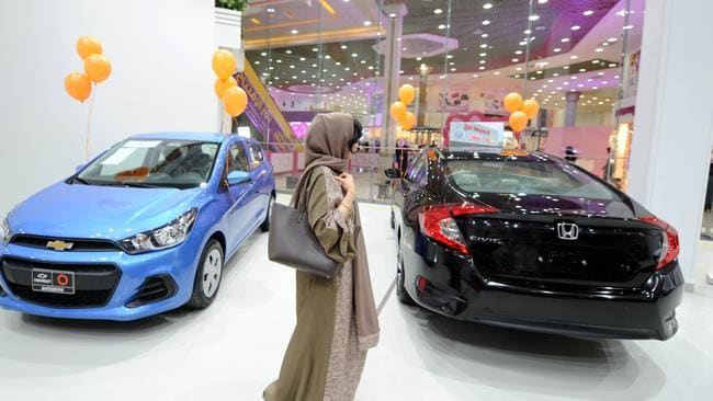 A Saudi woman tours a car show for women on January 11, 2018, in Jeddah. Picture: AFP