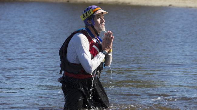 2014 Avon Descent finish, Mr Coward takes a moment in the river after coming 4th in the double kayak. Picture: Jordan Shields