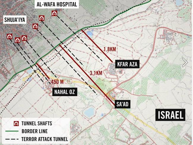 This 2014 map posted by the IDF shows how the tunnels have been created in parallel pairs beneath the Gaza Strip