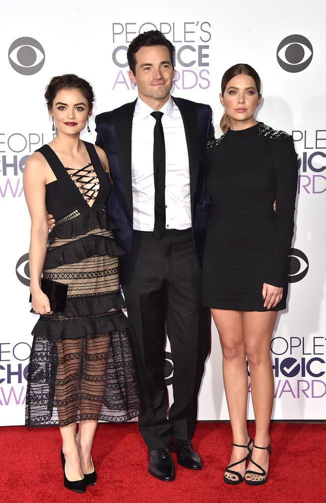 Lucy Hale, and from left, Ian Harding, and Ashley Benson arrive at the People's Choice Awards 2016. Picture: Jordan Strauss/Invision/AP