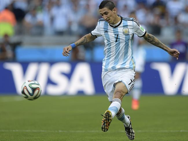 Argentina ace Angel Di Maria passes during the Brazil 2014 World Cup.