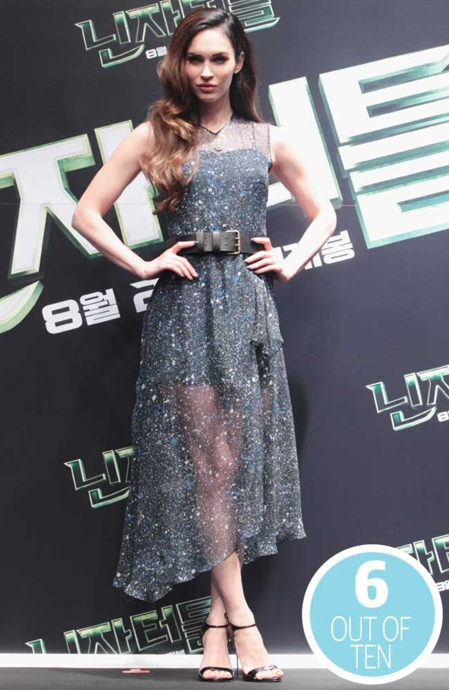 This dress would have worked better for Megan Fox if she'd lost the belt. Picture: Getty Images