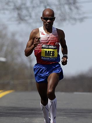 Meb Keflezighi runs alone on the race course during the 118th Boston Marathon. Picture: Steven Senne