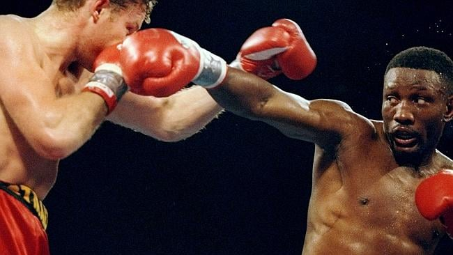 Once he was king of the world: Pernell Whitaker (right) and Andre Pestriaeu in action. Al