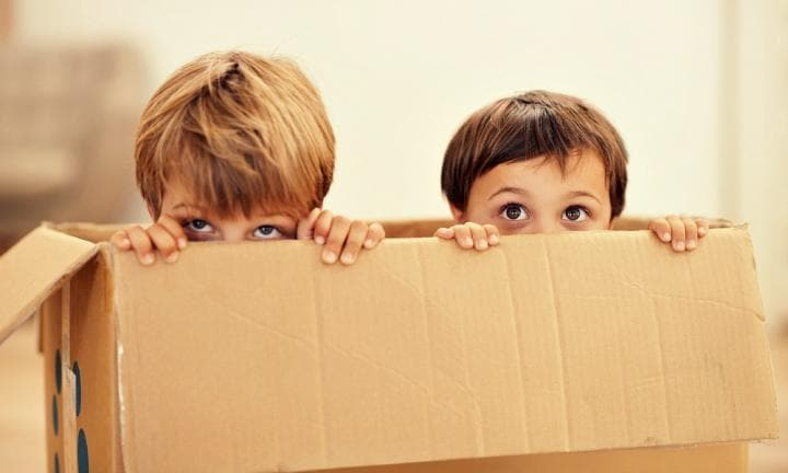 Two adorable young boys peeking out of a cardboard box
