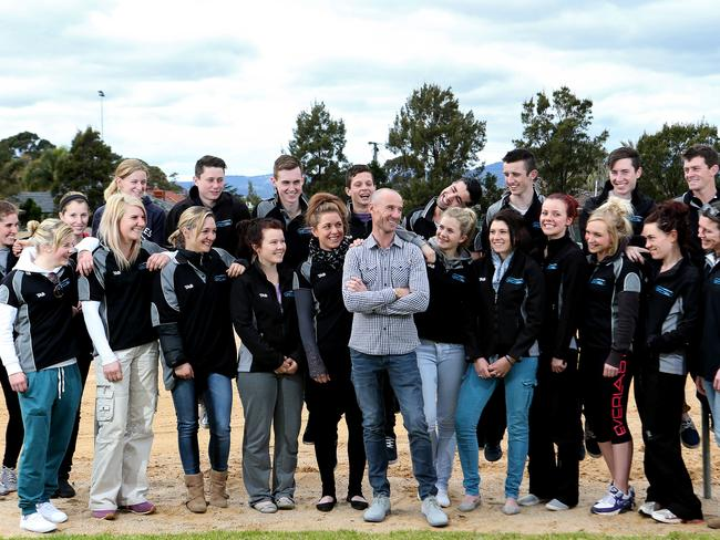 Students SA Apprentice Academy hang with triple Melbourne Cup-winning jockey Glen Boss at Morphettville racecourse. Picture: Calum Robertson