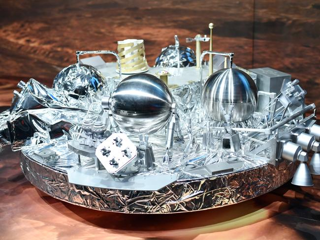 A model of the Schiaparelli Mars landing device. Picture: Uwe Anspach/dpa via AP